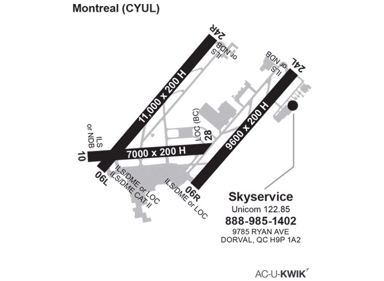 Skyservice FBO – Montreal Acukwick Map