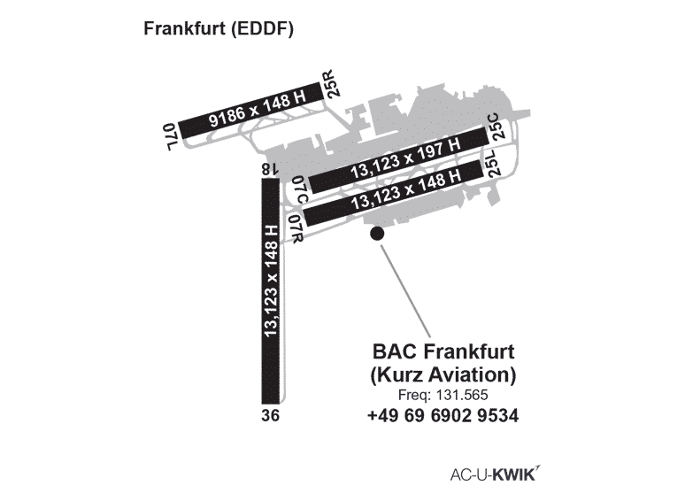 Business Aviation Centre  – Frankfurt (BACF) AC-U-KWIK Map