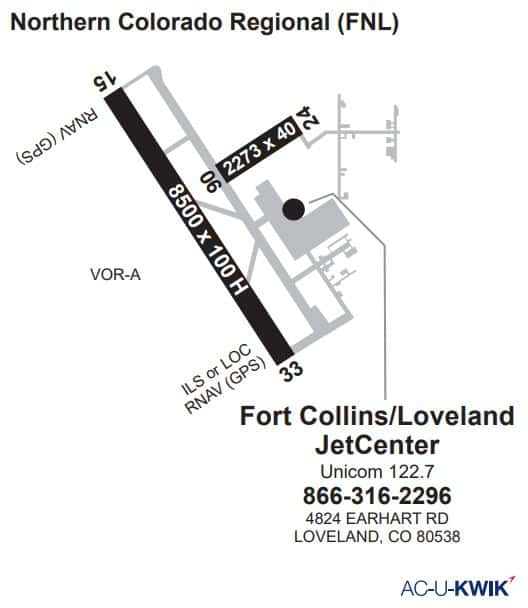 Fort Collins-Loveland jetCenter AC-U-KWIK Map