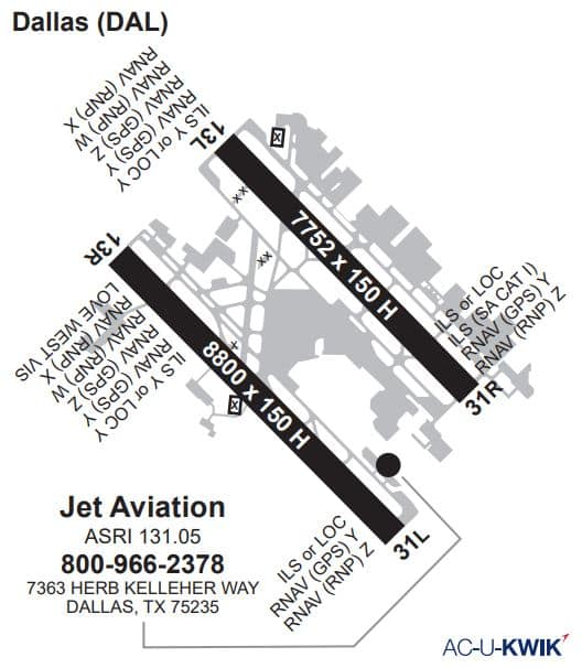 Jet Aviation – Dallas AC-U-KWIK Map