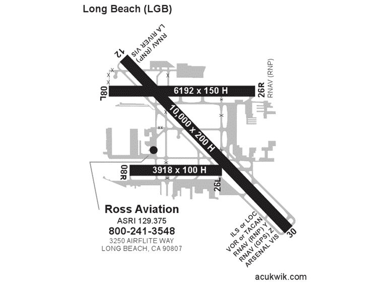 Ross Aviation – Long Beach AC-U-KWIK Map