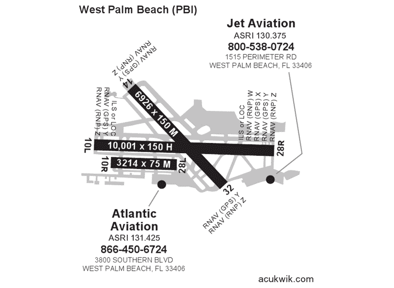 Jet Aviation – West Palm Beach AC-U-KWIK Map