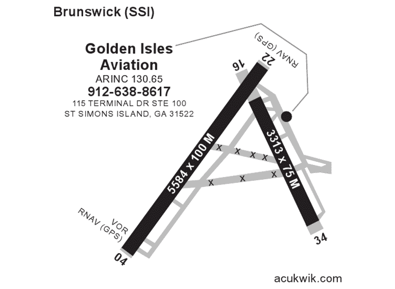 Golden Isles Aviation AC-U-KWIK Map