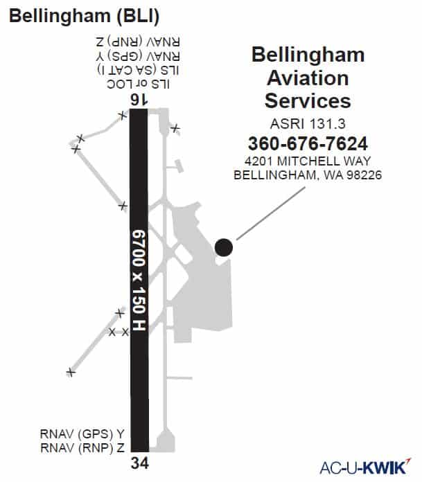 Bellingham Aviation Services AC-U-KWIK Map